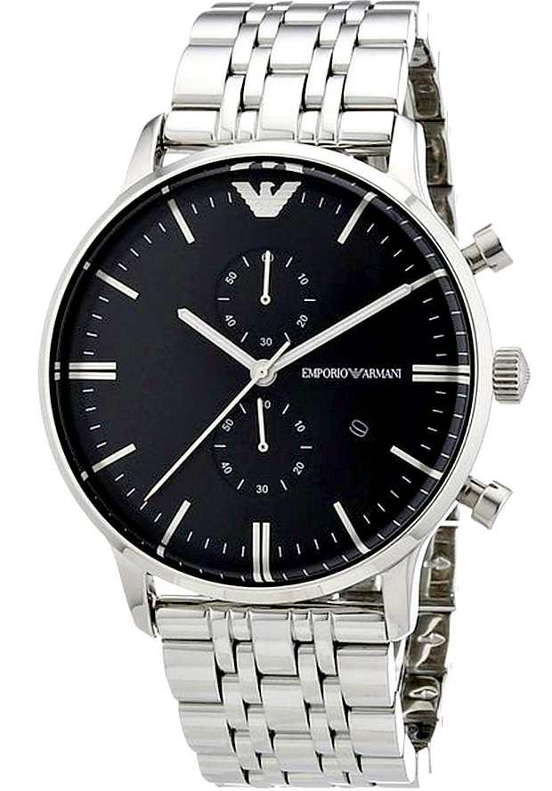 Emporio Armani AR0389 Часы Наручные Мужские с черным циферблатом
