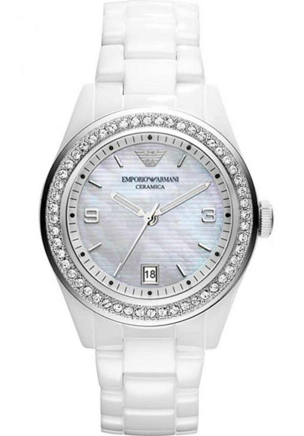 Часы Белые Керамические Emporio Armani Женские AR1426