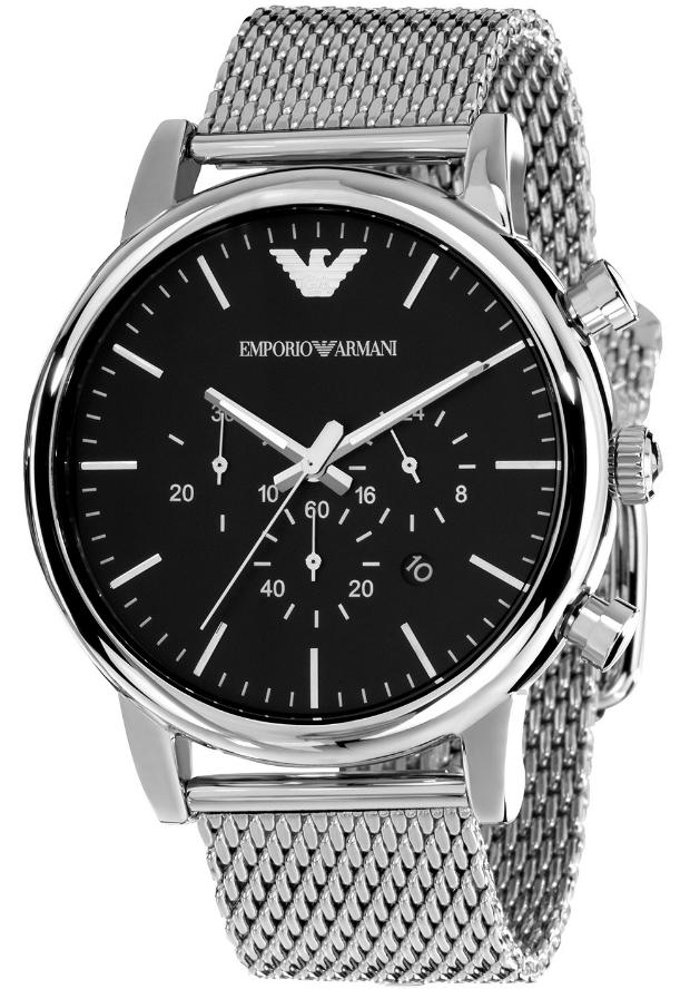 Большие Мужские Часы Emporio Armani Серебристые AR1808