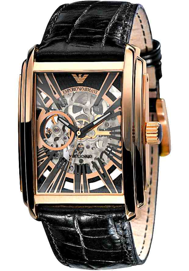 Механические Часы Emporio Armani Мужские Золотистые Скелетоны AR4233